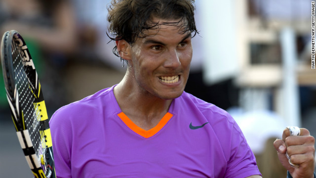 Spanish tennis star Rafael Nadal celebrates after winning his quarterfinal match in Vina del Mar.