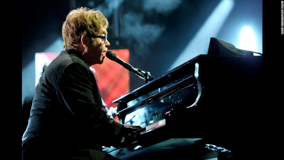 "Elton John performs ""Streets of Philadelphia."""