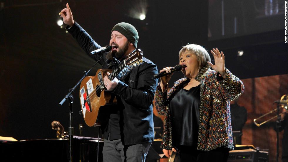 "Zac Brown and singer Mavis Staples duet on ""My City of Ruins."""