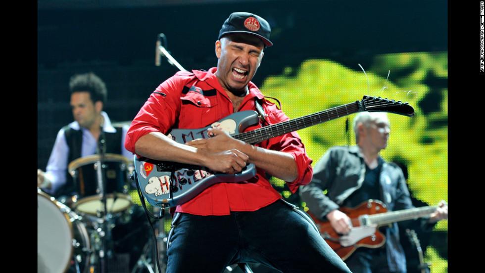 Musician Tom Morello performs.