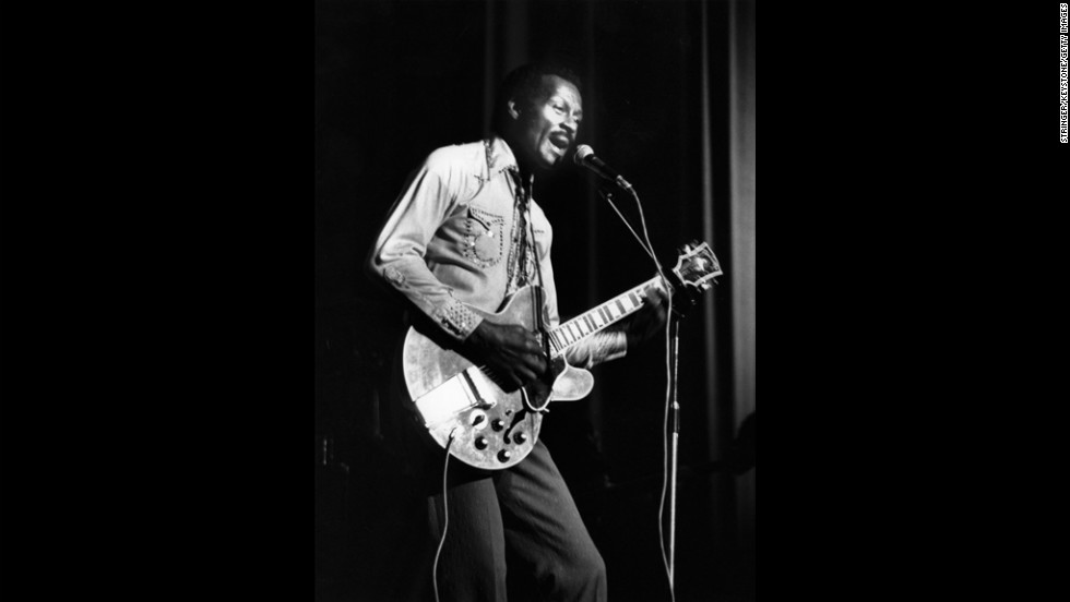 "Rock 'n' roll pioneer Chuck Berry was a hit machine through the 1950s and 1960s, with classic songs, including  ""Roll Over Beethoven,"" ""Maybelline,"" ""Rock and Roll Music,"" and ""Johnny Be Good.""  He was awarded a Lifetime Achievement Grammy in 1984."