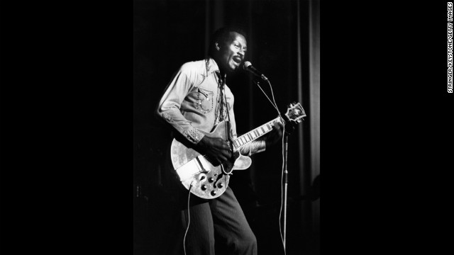 Chuck Berry performs at the  Birmingham Odeon in England on May 6, 1977.