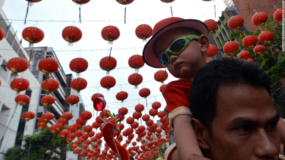 Thai-Chinese residents celebrate the Chinese New Year in Bangkok's Chinatown on February 10.
