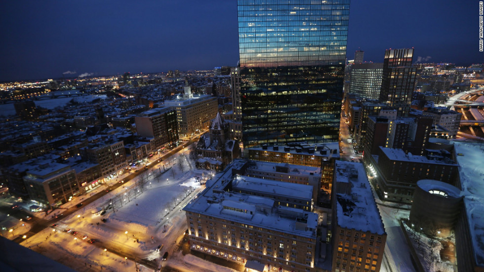 Snow blankets Copley Square on Saturday, February 9, in Boston.