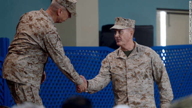 U.S. General Joseph F. Dunford (right) pictured with former NATO commander U.S. General John Allen in Kabul.