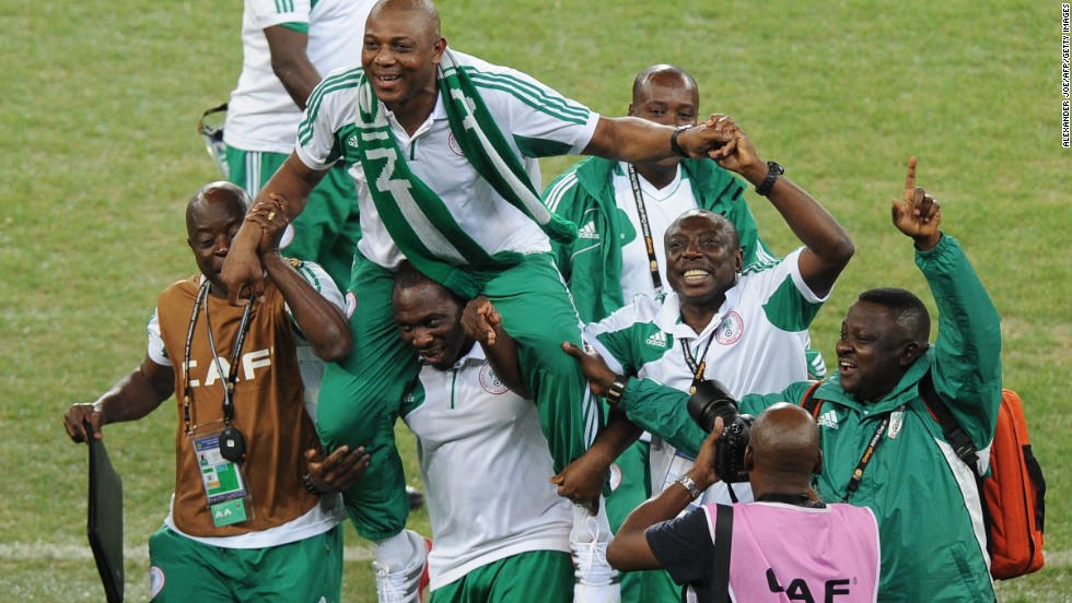 Nigeria's head coach Stephen Keshi, left, had been captain of that 1994 team, though he did not play in the final. He is only the second man to win the tournament as player and coach, along with Egypt's Mahmoud Al Gohari.