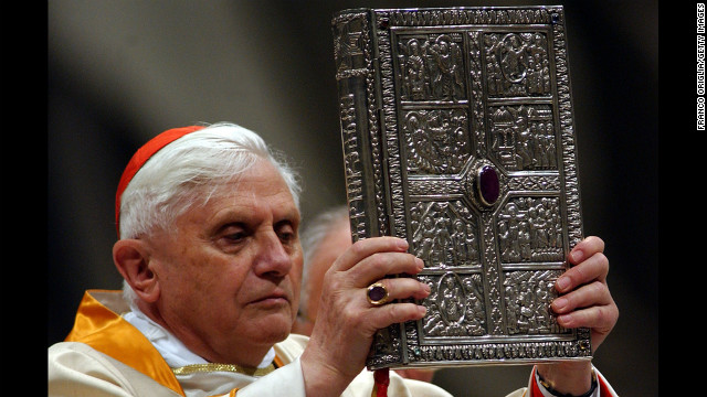 VATICAN CITY - MARCH 26: Germany's Cardinal Joseph Ratzinger, acting as substitute for the Pope, showes the gospel book during the celebration of the Easter Vigil service in Saint Peter's Basilica March 26, 2005 in Vatican City. Pope John Paul II remained in his private apartment as pilgrims speculated as to whether he will appear for Easter Sunday Mass in St Peter's Square.  (Photo by Franco Origlia/Getty Images)