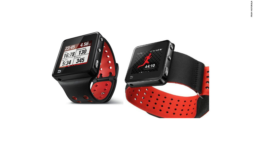 """The $269 <a href=""""http://www.motorola.com/us/consumers/8GB-or-16GB-MOTOACTV/79070,en_US,pd.html?selectedTab=tab-1&cgid=fitness-devices#tab"""" target=""""_blank"""">Motoactv</a> smart watch is marketed as a fitness tracker. It acts as a heart-rate monitor and pedometer, has GPS and an MP3 player. There are also a number of nonwrist mount options, including a handlebar strap, arm band and chest strap."""