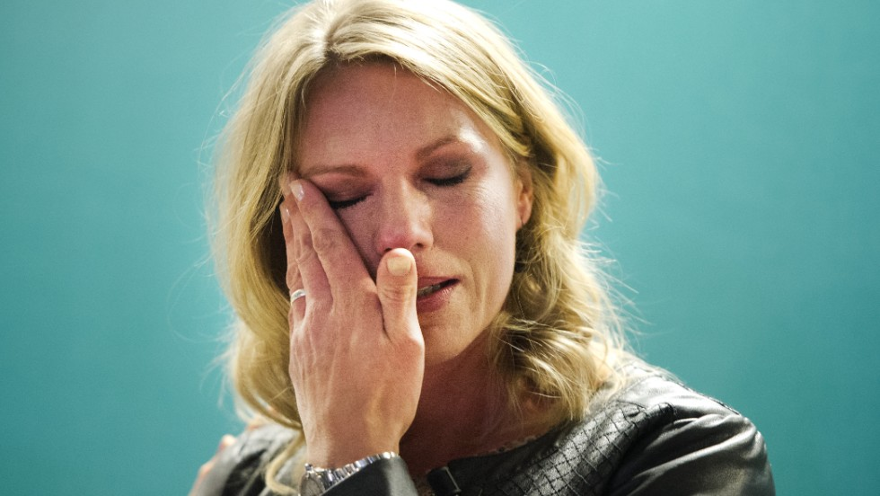 Esther Vergeer wipes away a tear after announcing her retirement from wheelchair tennis at a press conference in Rotterdam, where she is a director of an able-bodied men's tournament.