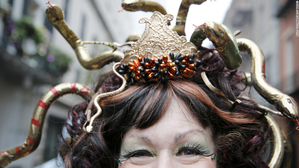 Lorraine Summers of New Orleans, dressed as Medusa, celebrates Mardi Gras in the French Quarter.