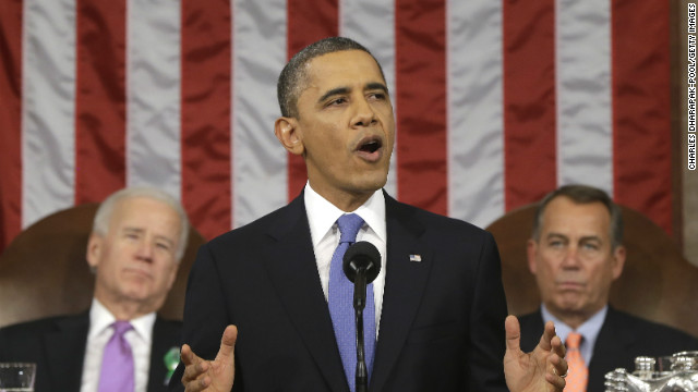 President Barack Obama, flanked by Vice President Joe Biden and House Speaker John Boehner, delivers his 2013 State of the Union speech.