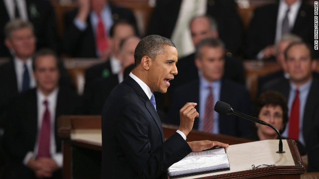 """WASHINGTON, DC - FEBRUARY 12:  U.S. President Barack Obama delivers his State of the Union speech before a joint session of Congress at the U.S. Capitol February 12, 2013 in Washington, DC. Facing a divided Congress, Obama focused his speech on new initiatives designed to stimulate the U.S. economy and said, """"It?s not a bigger government we need, but a smarter government that sets priorities and invests in broad-based growth"""".  (Photo by Alex Wong/Getty Images)"""