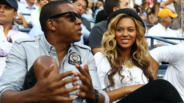 Jay-Z and Beyonce watch Rafael Nadal of Spain and Novak Djokovic of Serbia play during the Men's Final on Day Fifteen of the 2011 US Open at the USTA Billie Jean King National Tennis Center on September 12, 2011 in the Flushing neighborhood of the Queens borough of New York City. (Photo by Clive Brunskill/Getty Images)