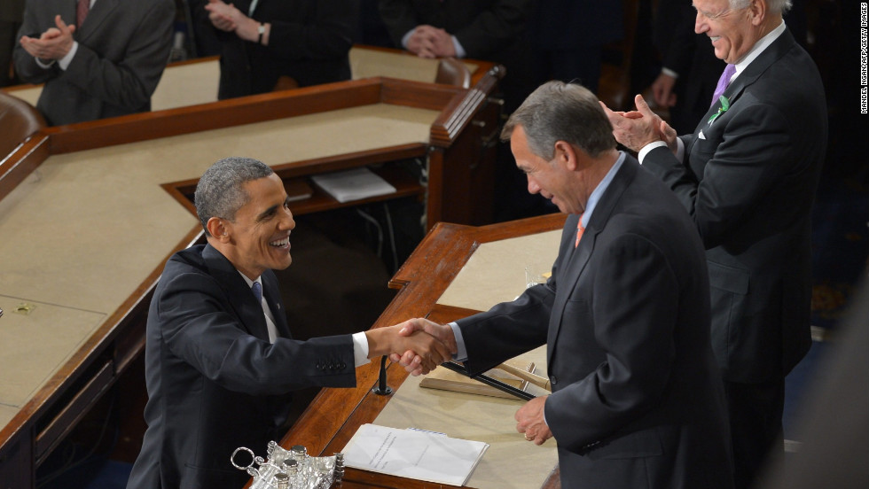 Obama shakes hands with House Speaker John Boehner before delivering the address.