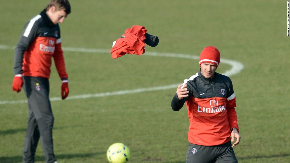 After working up a sweat, Beckham throws off his top and gets back to work with the players who didn't feature in Tuesday's win at Valencia.  If Beckham doesn't play against Sochaux on Sunday, he could line-up the following week against fierce rival Marseille and fellow Englishman Joey Barton.