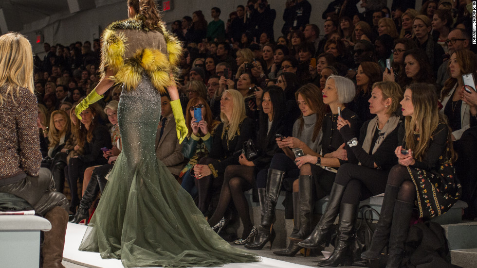 Guests watch the Dennis Basso show on February 12. Basso is one of America's premier fur designers.