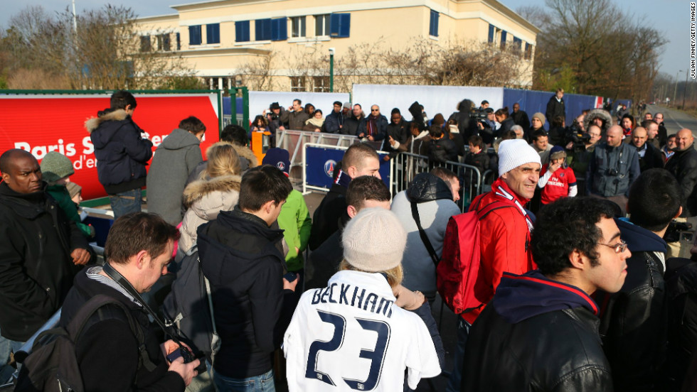 Hundreds of fans and journalists flocked to the Paris Saint-Germain training ground Wednesday to get a glimpse of David Beckham in action on the practice field.  The interest in Beckham's move to the French club has caused huge excitement with the anticipation building ahead of the midfielder's possible debut on Sunday.