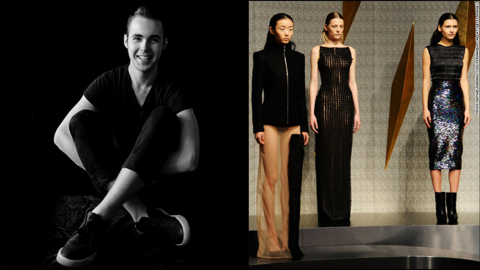 "Mathieu Mirano has been dubbed the ""mad scientist"" of Fashion Week, and for good reason: In his fall/winter 2013 collection, he took a classically shaped black pencil skirt and embellished it with pieces of meteorites. At 21, Mirano is one of the youngest designers ever to show at Lincoln Center."