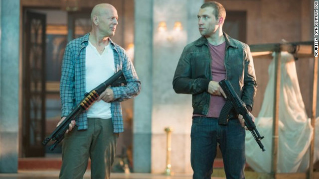 "Bruce Willis stars as John McClane and Jai Courtney stars as Jack McClane in ""A Good Day to Die Hard."""