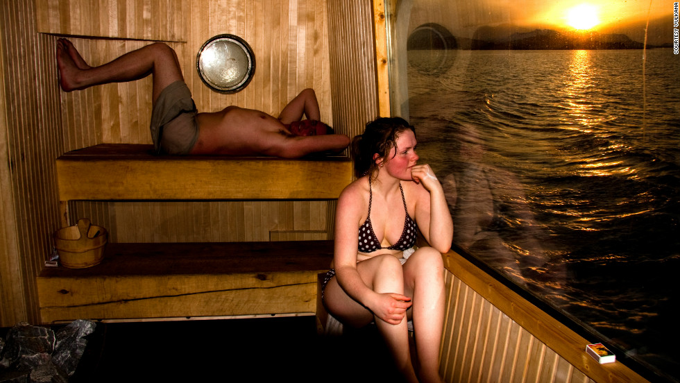 Admire the icy Arctic from the comfort of a steaming sauna on board converted floating hotel, Vulkana.