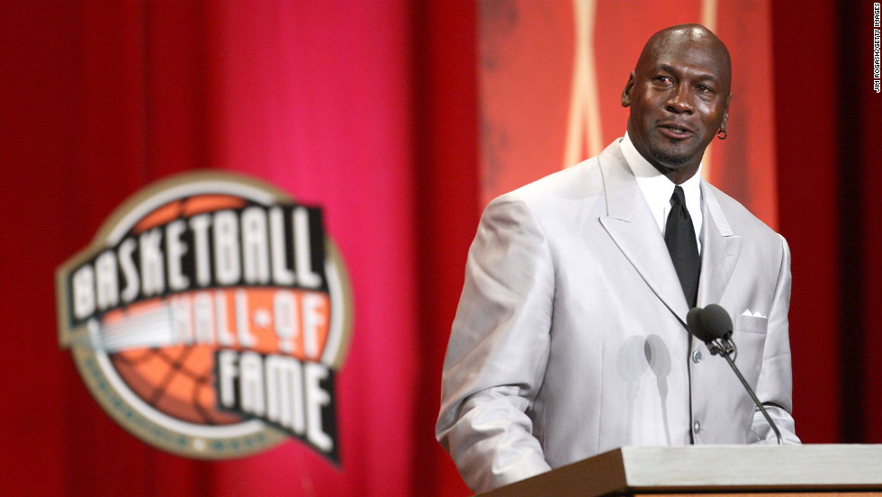 Jordan speaks during his induction into the Naismith Memorial Basketball Hall of Fame in 2009.