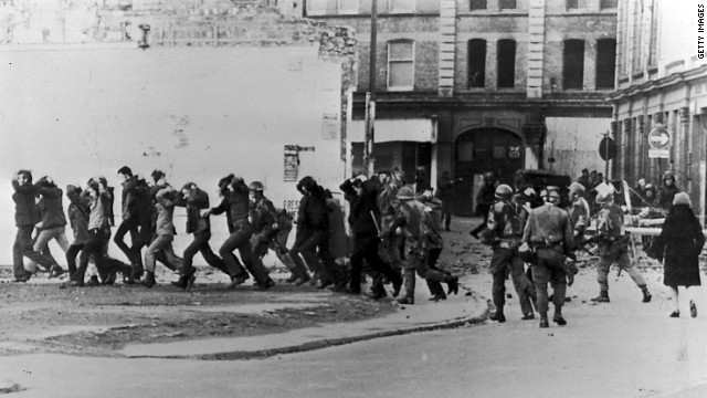 British paratroopers take away civil rights demonstrators on 'Bloody Sunday' after the paratroopers opened fire on a civil rights march, killing 14 civilians, January 30, 1972 in Londonderry, Northern Ireland.