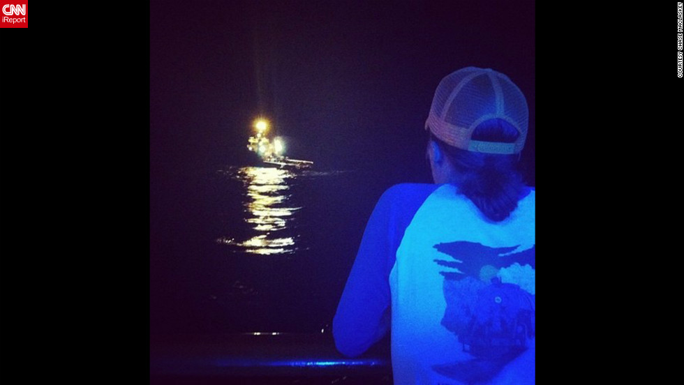 """Mike watching the first tugboat setting up to pull us,"" writes Chase Maclaskey on Instagram. The 4,229 passengers and crew aboard the Carnival Triumph have been stuck on the ship since fire disabled the vessel on Sunday, February 10. Click through to see passengers' photos from on board."