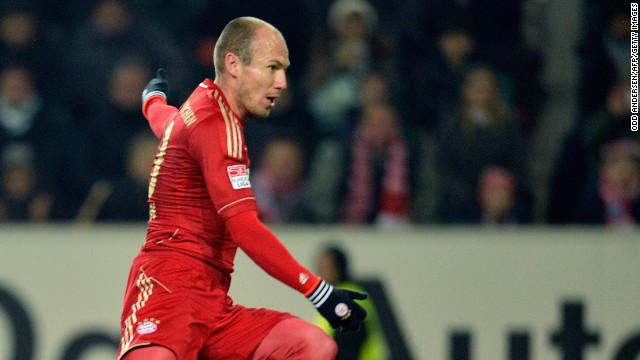 Arjen Robben fires home Bayern's second goal of the game to seal all three points at Wolfsburg.