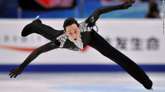 Johnny Weir of USA performs during his men short program of the ISU Grand Prix figure skating series Rostelecom Cup at the Megasport arena in Moscow on November 9, 2012. AFP PHOTO/ YURI KADOBNOV        (Photo credit should read YURI KADOBNOV/AFP/Getty Images)