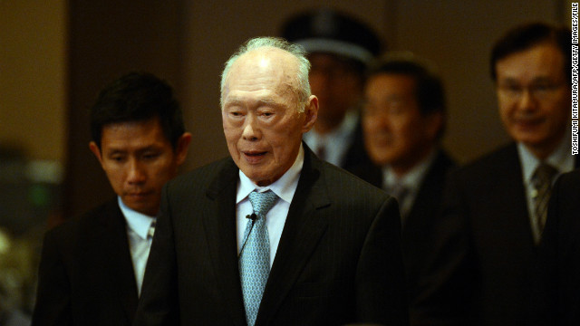Former Singaporean Prime Minister Lee Kuan Yew is photographed in Tokyo on May 24, 2012.