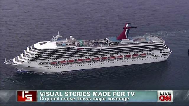 Crippled cruise draws major coverage