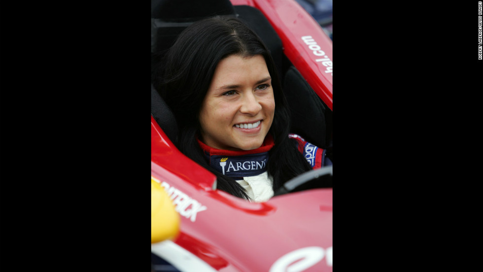 Patrick sits in her car during the Open Test in 2005 in Phoenix.