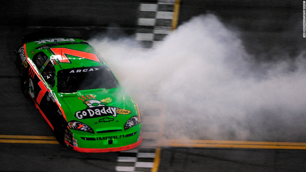 Patrick loses control of her car during the Lucas Oil Slick Mist 200 in 2010.