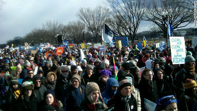 Supporters of action to counter climate change gathered in Washington Sunday.