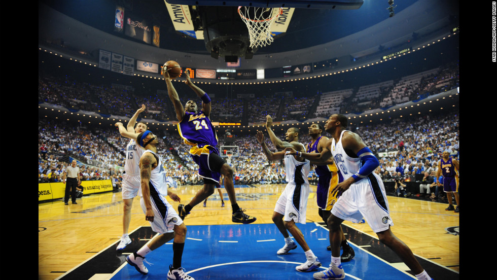 The Lakers won their first championship since 2002. It was the first post-O'Neal championship for star Kobe Bryant, who was always considered a standout but was criticized for his inability to win a championship without the big man. Pictured, Bryant shoots during a 2009 NBA Finals game against the Orlando Magic.