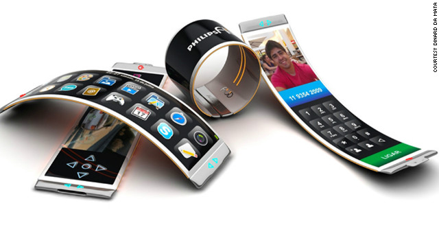 The Philips Fluid concept phone has a bendy organic light-emitting diode, which means it can be wrapped around the wrist as a watch or bracelet or used as a normal mobile phone.