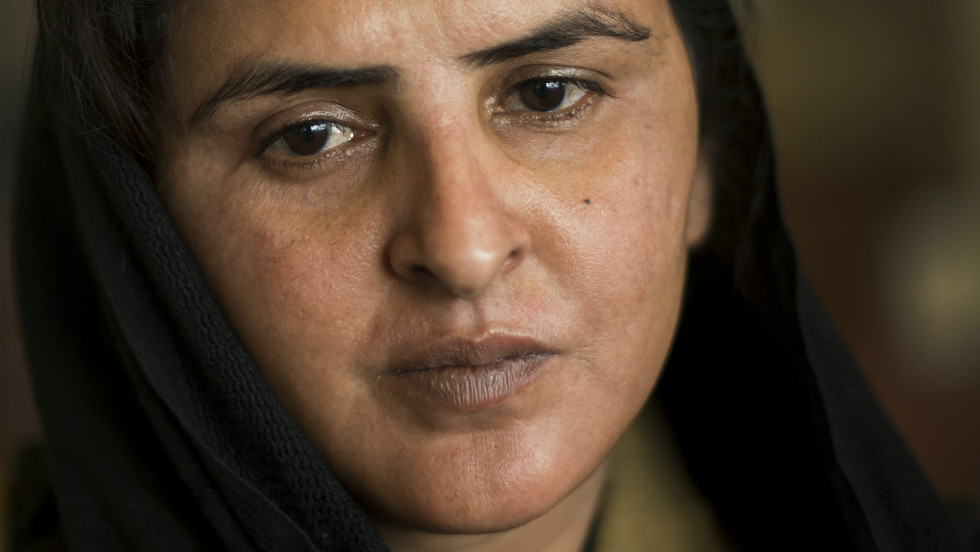 Pakistani gang rape victim Mukhtar Mai, who gained prominence for her outspoken stance on the oppression of women, poses on February 19, 2013 during the Summit for Human Rights and Democracy in Geneva.