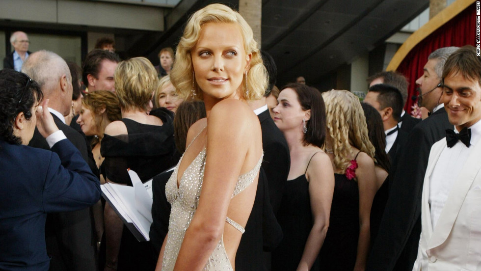 "Charlize Theron looked glamorous in the sparkly Gucci gown she wore in 2004, the year she won an Oscar for her performance in ""Monster."""