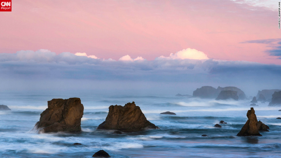 "Jennifer King went on a trip to explore and photograph the Oregon coast. When she found Bandon Beach, she was impressed by the beach's ""incredible sea stacks, multiple vista points plus public beach access that allowed visitors to walk along the coast."""
