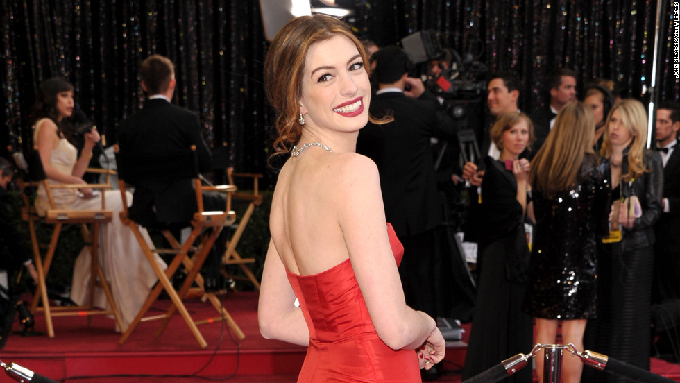 "The red vintage Valentino gown that Anne Hathaway wore on the red carpet at the 2011 Academy Awards proved to be a fan favorite. The actress donned <a href=""http://marquee.blogs.cnn.com/2011/02/28/which-anne-hathaway-oscars-look-is-your-fave/"" target=""_blank"">at least seven different looks</a> that night to host the show with James Franco."