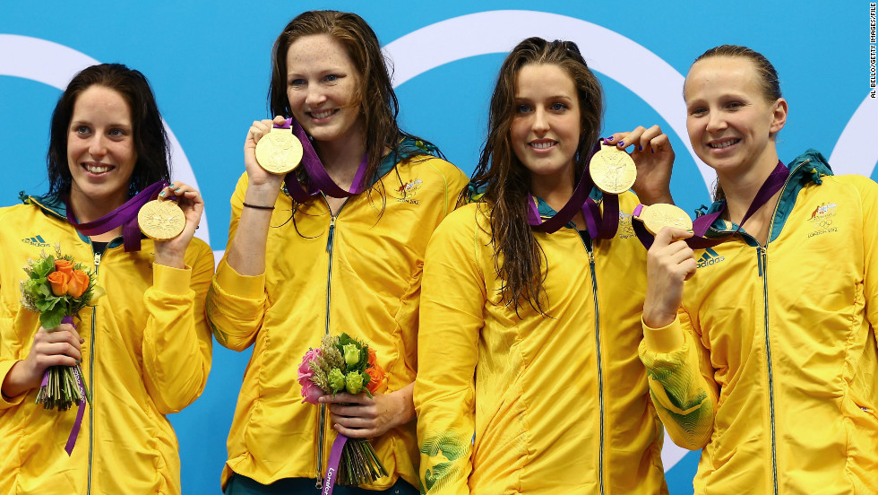 Australia's only swimming gold at London 2012 was won on the opening day of competition by Alicia Coutts, Melanie Schlanger Brittany Elmslie and Cate Campbell in the women's 4x100m freestyle relay.