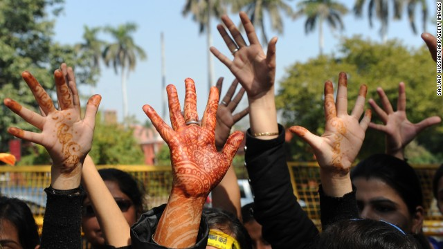 Indian students in a One Billion Rising rally in New Delhi on February 14, 2013.