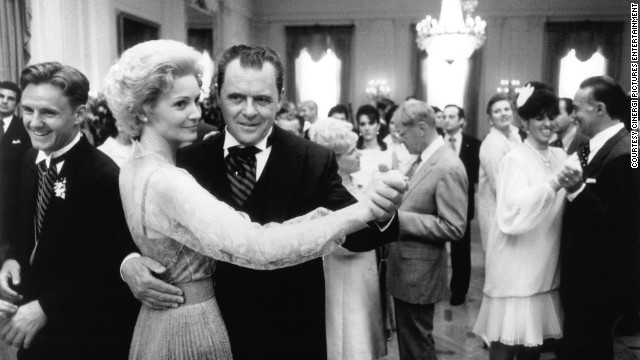 "Actors Anthony Hopkins and Joan Allen in Oliver Stone's 1995 film ""Nixon."""