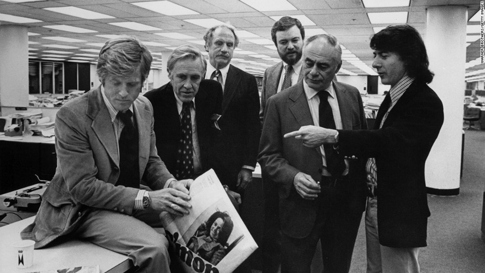 "Robert Redford, left, and Dustin Hoffman, right, played the young Washington Post reporters who brought down Richard Nixon in the 1976 film ""All The President's Men."""