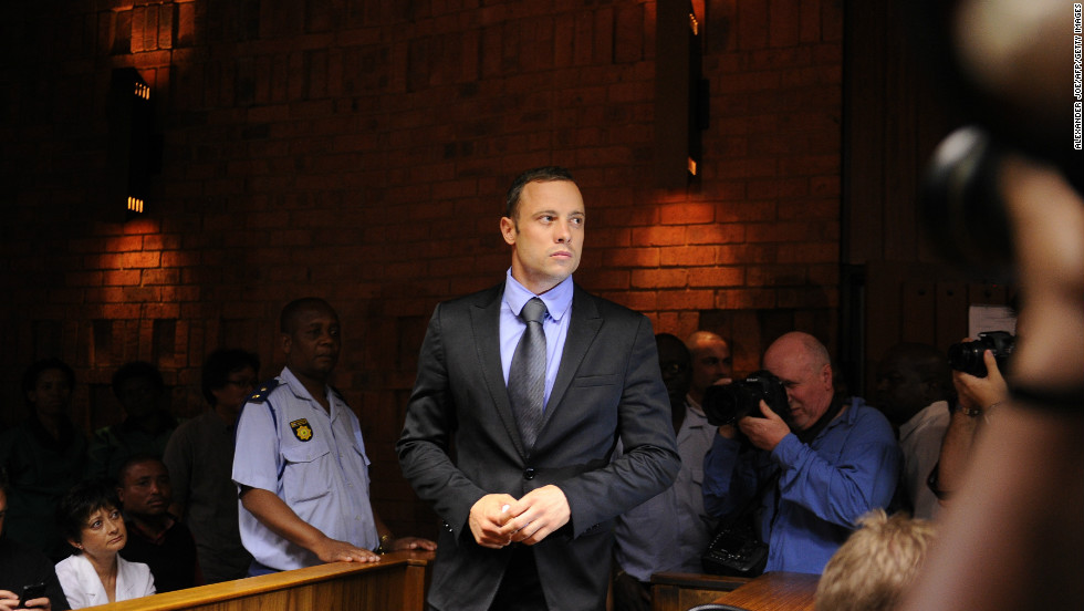 South African Olympic sprinter Oscar Pistorius appears on February 21, 2013 at the Magistrate Court in Pretoria, charged with the murder of his model girlfriend Reeva Steenkamp on February 14.