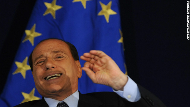 (File) Italy's Prime Minister Silvio Berlusconi gestures during a press conference after an emergency summit of European Union leaders on the crisis in Georgia at the headquarters of the European Council on September 1, 2008 in Brussels.