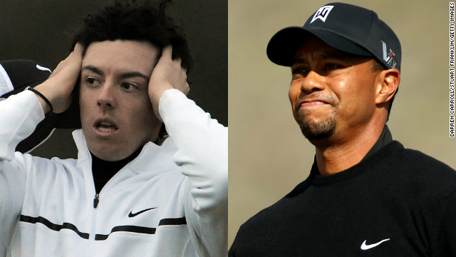 The world's top two golfers, Rory McIlroy (L) and Tiger Woods suffered first round defeats in Arizona