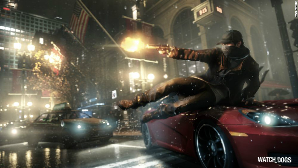 "Set in an alternate version of Chicago, ""Watch_Dogs"" is an open-world adventure game whose main character hacks into computer systems to thwart crimes and kill evildoers."