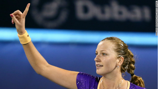 Petra Kvitova reached the final of the Dubai Open Friday following 6-3 6-4 win over Caroline Wozniacki.