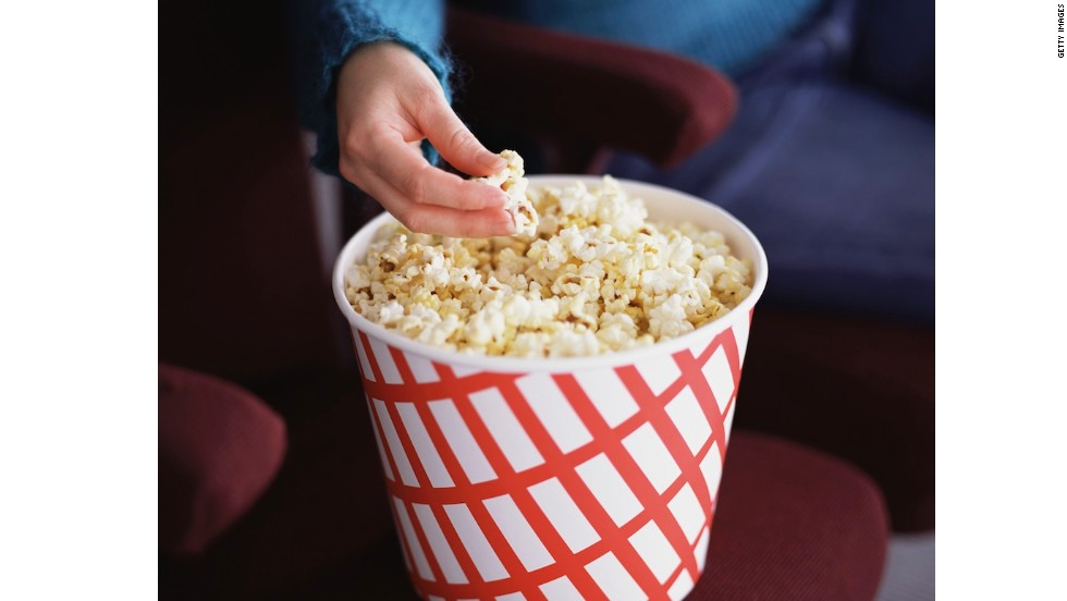 <strong>Worst popcorn: Large with butter flavoring </strong><br />Tests done in 2009 by the Center for Science in the Public Interest found nutritional numbers to be higher than advertised for most products it tested, including a large popcorn at Regal (1,200 calories and 60 grams of saturated fat, according to tests); AMC (1,030 calories and 57 grams saturated fat, not counting the free refill!); and Cinemark (910 calories and 4 grams saturated fat). <br /><br />Every tablespoon of buttery topping adds about another 130 calories. And although Cinemark's large popcorn was the lowest in calories and saturated fat, it contained the most sodium: 1,500 milligrams, or an entire day's worth for most people.